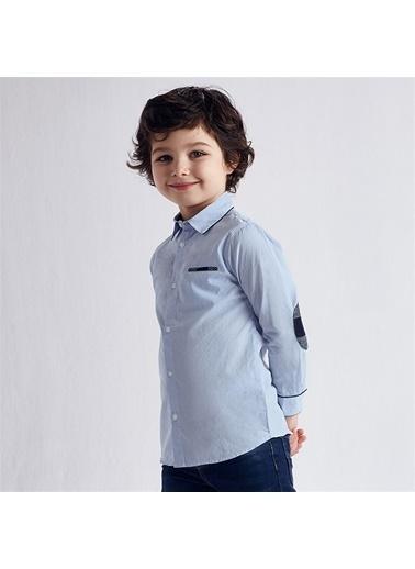Mayoral Mayoral Erkek Çocuk Uzun Kol Gömlek Beyaz 20304 Mavi